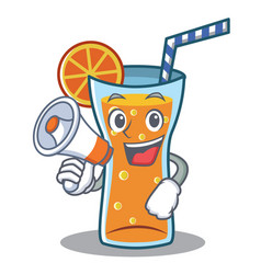 With megaphone cocktail character cartoon style vector