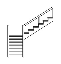 Wooden staircase iconoutline icon vector