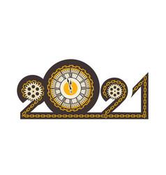 year digits 2021 mechanical logo vector image
