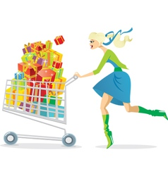 Young girl on a shopping spree vector