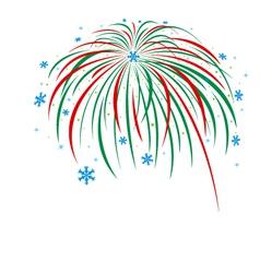 Christmas firework design on white background vector image vector image