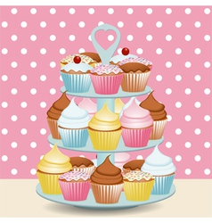 decorated cupcakes vector image vector image