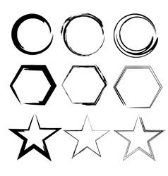 Grunge shapes Star circle hexagon Set of Hand vector image vector image