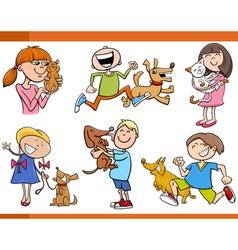 kids with pets cartoon set vector image