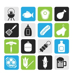 Silhouette Grilling and barbecue icons vector image vector image