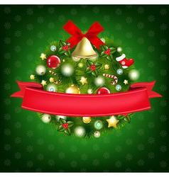 Xmas Wreath With Bells vector image vector image