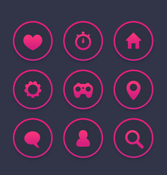 Basic web icons set favourite contact us vector