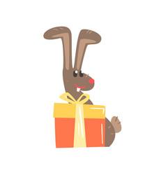 cute cartoon rabbit with big gift box happy vector image vector image
