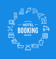 Hotel booking round design template line icon vector
