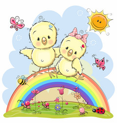 two chickens are sitting on the rainbow vector image