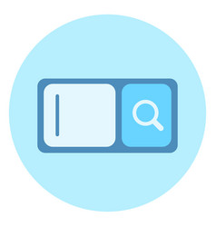 web search bar icon with magnifying glass on blue vector image