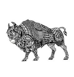 Zentangle stylized black bison vector