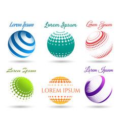 abstract 3d dot spheres logo set vector image