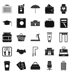 suitcase icons set simple style vector image