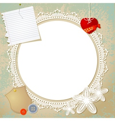 Vintage doily on the old grunge background vector