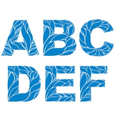 Blue delicate capital letters with marine ornament vector image