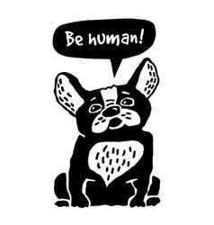 Dog French Bulldog silhouette vector image