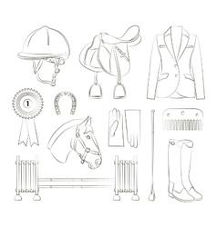 Horse riding set vector image vector image