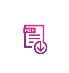 pdf file download icon on white vector image vector image