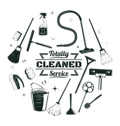 sketch cleaning service elements round concept vector image vector image
