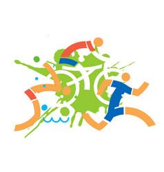 triathlon cyclist runner swimmer vector image