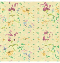 vintage grunge background with flowers vector image