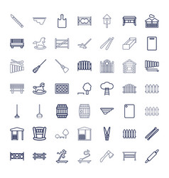 49 wooden icons vector