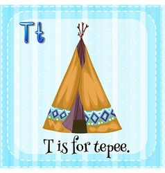 A letter t for tepee vector