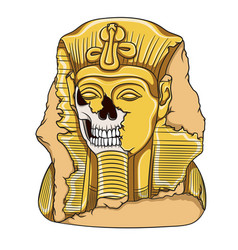 Ancient pharaoh statue a skull vector