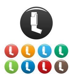 asthma inhaler icons set color vector image
