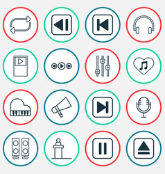 Audio icons set with fast forward song megaphone vector
