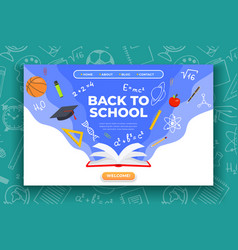 back to school banner book basketball ball pen vector image