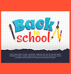 back to school posteron on checkered background vector image