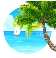 Background palm tree and ship vector