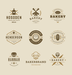 bakery goods logos and badges design templates set vector image