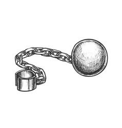 Ball and chain prisoner accessory retro vector