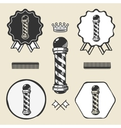 Barber pole vintage symbol emblem label collection vector