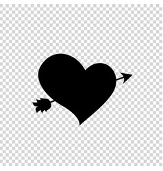 Black silhouette of arrow through heart on vector