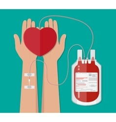 blood bag and hand of donor with heart donation vector image