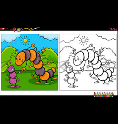 Cartoon ant and caterpillar insects coloring book vector