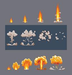 Cartoon explosion effect with smoke comic boom vector