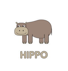 Cartoon hippo flashcard for children vector