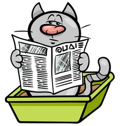 Cat in litter box cartoon vector