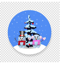 christmas new year round sign with cute cartoon vector image