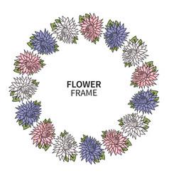 chrysanthemum flower frame floral wreath print vector image