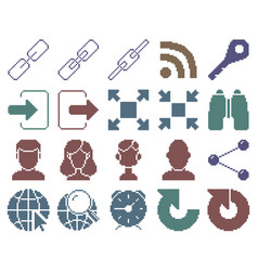 Collection monochromatic pixel icons user vector