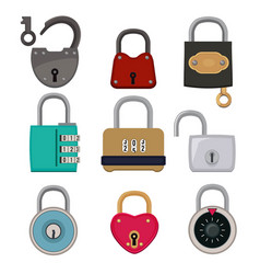 colored icon set padlocks vector image