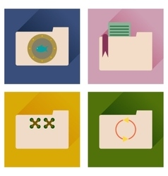 Concept of flat icons with long shadow folder vector image