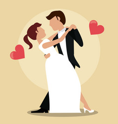 Couple just married dancing vector