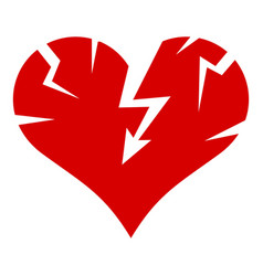 cracked heart icon simple style vector image